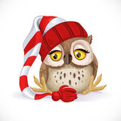 Cute owlet in a cap sits and wants to sleep — Stock Vector
