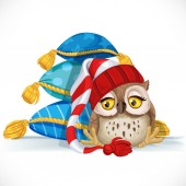 Cute owlet in a cap sits near a pile of pillows and wants to sle — Stock Vector