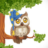 Cute owl wearing a hat sitting on a tree branch isolated on a wh — Stock Vector