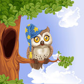 Cute owl wearing a hat sitting on a tree branch — Vector de stock