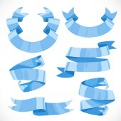 Set of vector festive blue ribbons various forms for decoration  — Stock Vector
