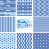 Set of blue seamless geometric patterns on white 2 — 图库矢量图片