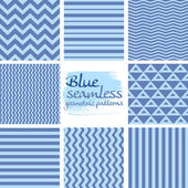Set of blue seamless geometric patterns on white 1 — Stock Vector