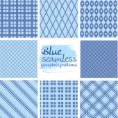 Set of blue seamless geometric patterns on white 6 — Stock Vector