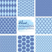 Set of blue seamless geometric patterns on white 5 — Stock Vector