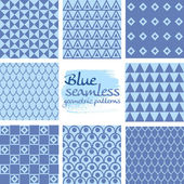Set of blue seamless geometric patterns on white 7 — Stock Vector