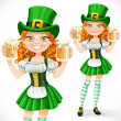 Beautiful girl leprechaun hold a two goblets of beer isolated on — Stock Vector #62445913