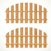 Wooden semicircular fence isolated on white background — Stock Vector