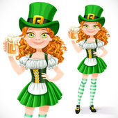 Beautiful girl leprechaun offers a beer  isolated on a white bac — Stock Vector
