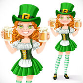 Beautiful girl leprechaun hold a two goblets of beer isolated on — Stock Vector
