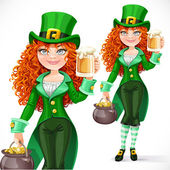 Beautiful girl leprechaun with pot of gold offers a beer isolate — Stock Vector