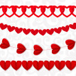Red seamless paper garlands from hearts Valentine on white seaml — Stock Vector #62604393