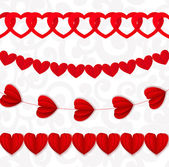 Red seamless paper garlands from hearts Valentine on white seaml — Stock Vector