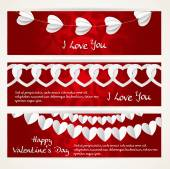 Horizontal banners with long garlands of paper hearts for Valent — Stock Vector