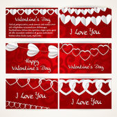 Horizontal banners set with garlands of paper hearts for Valenti — Vetor de Stock