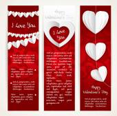 Vertical banners set with garlands of paper hearts for Valentine — Stock Vector