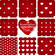 Set of red and white seamless geometric patterns from hearts — 图库矢量图片 #63162869