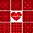Set of red seamless geometric patterns from hearts — 图库矢量图片 #63162967