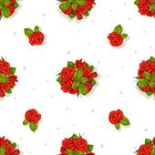 Big seamless pattern of a romantic bouquet of red roses and diamonds — Stock Vector