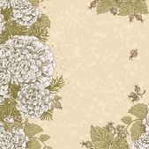 Vintage beige color decorative background of stylized flowers an — Stockvektor