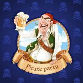 Drunken pirate with a beer. Banner for Pirate party — Stock Vector