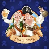 Two drunken pirates with rum and beer. Banner for Pirate party — Stock Vector