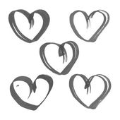 Heart drawn flat brush ink on the white paper — Stock Vector