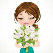 Cute brunette girl holding beautiful bouquet white tulips on whi — Stock Vector