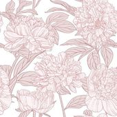 Seamless pattern of pink peonies line art — Stock Vector