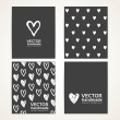 Abstract hand-painted white hearts on black banner set 1 — Stock Vector #69476521