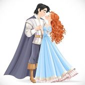 Romantic scene of a fabulous brunette prince and princess kiss i — Stockvektor