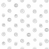 Seamless pattern of abstract curls spirals of thin black lines o — Stock Vector