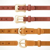 Leather belts with buckles buttoned and unbuttoned variants isol — Stock Vector