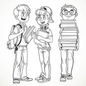 Schoolboys with textbooks and backpacks talk line drawing isolat — Stock Vector
