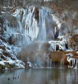 Mineral-rich waterfall in Lucky village, Slovakia — Stock Photo