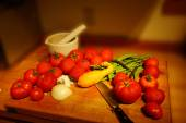 Harvest bounty - tomatoes, squash and green beans  — Stock Photo