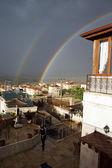 Evening rainbow over Mustafapasha  in  Cappadocia,  Turke — Stock Photo