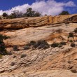 Panorama, tilted layers of sandstone cliffs — Stock Photo #58028783
