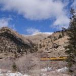 Freight train runs through canyon  — Stock Photo #60171499