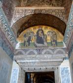 Constantine and Justinian make offerings — Stockfoto