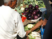 Hindu man sells vegetables — Stock Photo