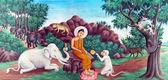 Buddha tames the mad elephant — Stock Photo