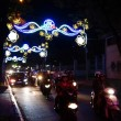 Motor scooters and  lights for  Tet Lunar New Year — Stock Photo #70039995