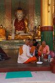 Buddhist monks breakfast — Stock Photo