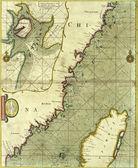 Античный Карта побережья Китая — Стоковое фото