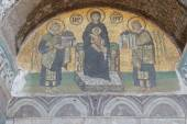 Constantine and Justinian make offerings to Virgin Mary — Stock Photo