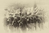Union army marching to battle — Stock Photo