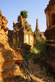 Vegetation reclaims ancient  Buddhist stupas — Stock Photo