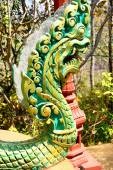Green naga serpent on column — Stock Photo