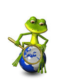 Frog on a globe with a magnifying glass — 图库照片